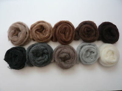 Heidifeathers® 'Menagerie Mix' 10 blended Natural Wool Slivers - Felting Wools 4