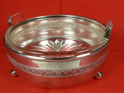 Monarch Plate Brand Ball-footed Silver Caddy w Clear Glass Handled Dish 4