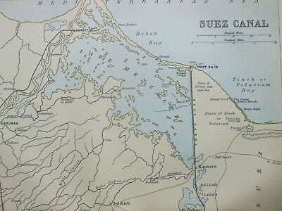 Antique Print C1870S Map Of Suez Canal Lithograph Engraving Map Of The World Art