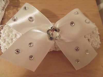 White Baby / Girls Crochet Romany Bling Headband with white bow. 3