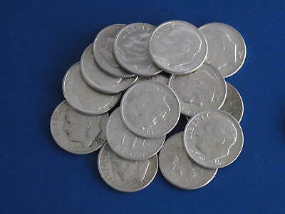 Roosevelt Dimes $3 face value - 30 dimes mixed dates 90% silver US Coins 2