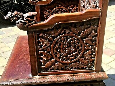 -Chinese Anique Hand Carved Huan Ghuali Armchair Dragon Design*- 7