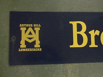 """Vintage ARTHUR HILL / BROCKWAY ST STREET SIGN 54"""" X 12"""" GOLD LETTERING ON BLUE"""