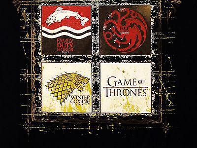 Game of Thrones House Crests 8 Lannister Stark TV Official Black Mens T-shirt 5