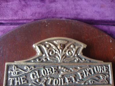 Vintage? brass toilet roll holder on  mahogany base 2
