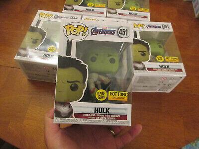 Funko Pop Marvel Avengers Endgame Hulk 451 Glows In The Dark Gitd Hot Topic 2019 8