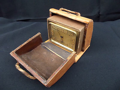 Art Deco Leather Travel Cased Brass Alarm Clock Duverdrey Bayard 2