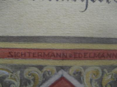 Handgemalte Ehrenurkunde der Maler Zwangs Innung Düsseldorf von 1924 Dahlhaus 5