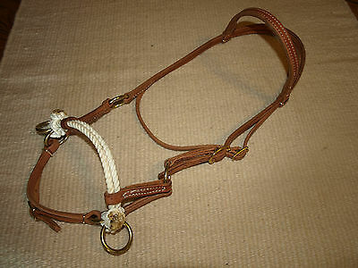 Western harness leather double rope side pull USA natural custom cowboy  H4005 2