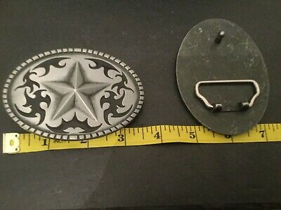 Silver STAR on Silver Oval Black Western Cutout Design New BELT BUCKLE New Metal 2