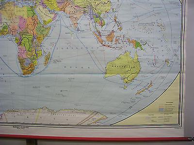 Schulwandkarte schöne alte Weltkarte politische 245x142c vintage world map 1977 6