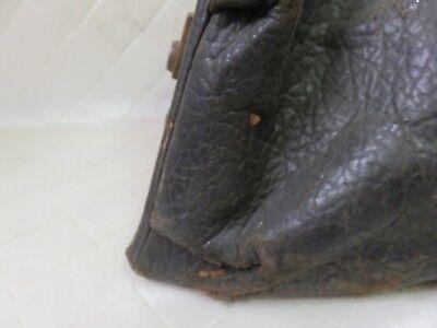 Doctor's Medical Bag Antique Satchel Messenger House Call Bag Leather Linen 2