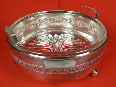 Monarch Plate Brand Ball-footed Silver Caddy w Clear Glass Handled Dish 3