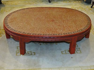 ANTIQUE LATE 19 c. CHINESE LACQUER INTRICATE CARVED CINNABAR COFFEE TABLE 3