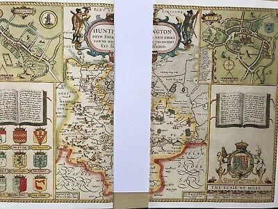 Old Antique Tudor map Huntingdonshire, Ely, England: John Speed 1600's Reprint 9