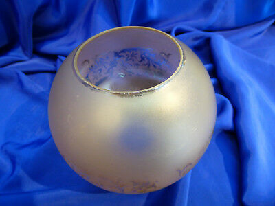 GLOBE DE LAMPE A PETROLE EN VERRE SATINE & DECOR . H 115 mm D 61 mm. REF 5035