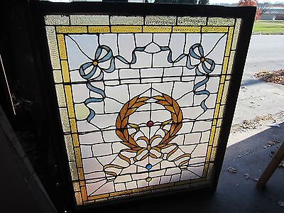 ANTIQUE AMERICAN STAINED GLASS LANDING WINDOW 35.75x42.25 ARCHITECTURAL SALVAGE 8