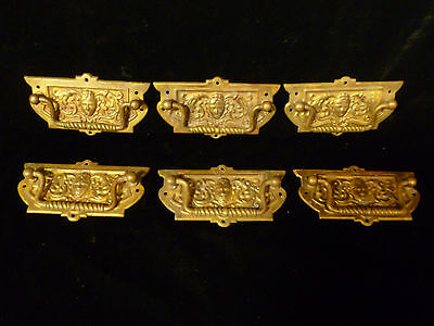 Set Of Six Victorian Brass Drawer Pulls With Human Mask Faces - Circa 1880 2
