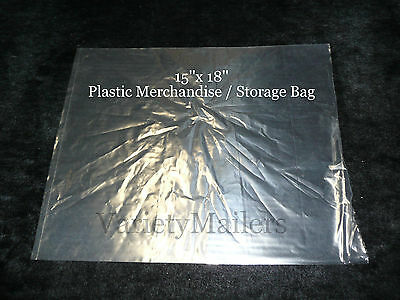 "25 Large 15""x 18"" Clear Flat Plastic Merchandise / Storage Bags 1.5 Mil"