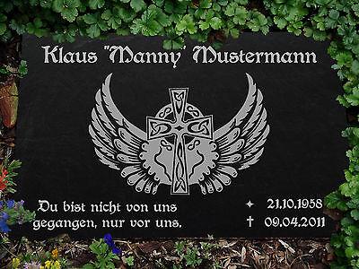 Motiv◄ 35 x 25 cm Garten- & Parkeinrichtung Grabstein GRABPLATTE Grabmal Biker 01►Gravur mit Inschrift