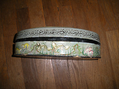 Antique Asian Hand Painted Wood Oval Box 10.5 Inch Long International Sale 6
