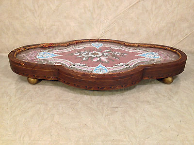 Antique Wooden Center Piece with Veneer Inlay Glass and Embroidery Bead Design 11 • CAD $242.45