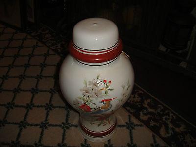 Superb Vintage Glass Lampshade-Painted Birds & Flowers-Bulbous Shape-Large-LQQK 11