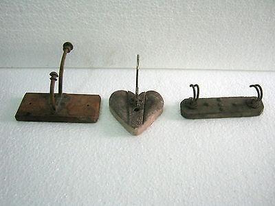 Antique Coat Hanger Lot Of Three . Wood / Brass / Iron . Heart 2
