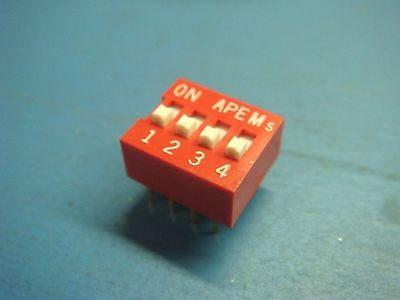 (5) Apem Ds-04 Spst 4 Position Raised Actuator Dip Switch Gold Leads