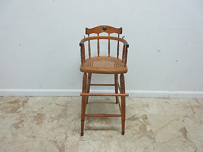 ... Antique Tiger Oak Bent Wood High Chair Stool Chair Childs Doll - ANTIQUE TIGER OAK Bent Wood High Chair Stool Chair Childs Doll