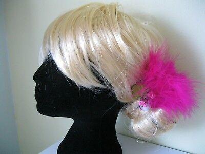 valentines pink FEATHER FASCINATOr flower WEDDING HAIR CLIP VINTAGE 50S ladies 2