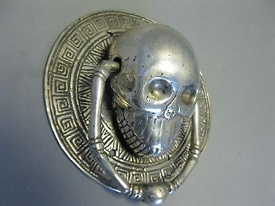 Türklopfer Skull Totenkopf Schädel  versilbert  15 cm  0,45Kg  Gothic Magie 3