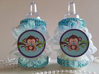12 monkey blue fillable bottles baby shower boy favors safari jungle