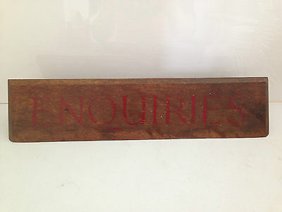 Stunning Hand Painted Antique Oak Desk Enquiries Standing Sign Reception Office
