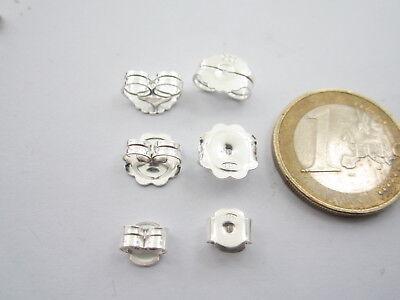 1 coppia farfalline argento 925 rodiato per i  perni orecchini   5,5 x 4,5 mm