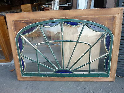 "HUGE gable END stain GLASS arched WINDOW oak FRAME spiderweb design 63 x 43"" 9"
