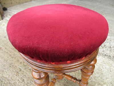 Victorian walnut piano stool, adjustable, upholstered, central column (531) 2