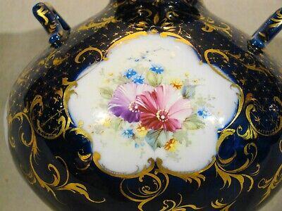 "Antique Continental Porcelain Hand Painted Cobalt & Gold Urn mid 19th c 7""h 2"