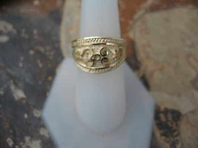 14 KT Yellow Gold Polished Byzantine Finish Etruscan Design Cigar Band Ring NEW 6