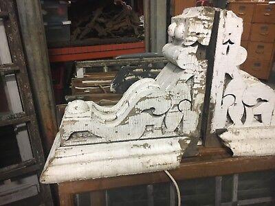 "LARGE pair circa 1870 victorian CORBEL brackets crusty white paint 18 x 17 x 10"""