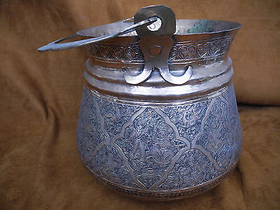 Antique Islamic Arabic Persian Copper Pail or Handled Pot with intricate work 4
