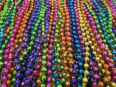 "Mardi Gras Beads Bright Neon Disco 6 Dozen 33"" Parade School Party 72 Necklaces 4"