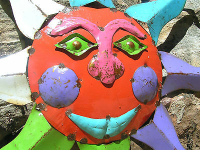 Metal Sun Face Garden Sign Junk Iron 0912