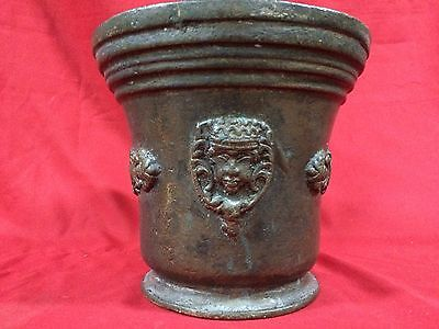 Huge Rare Antique European Bronze Mortar & Pestle Royal Aristrocatic Vase? King 6