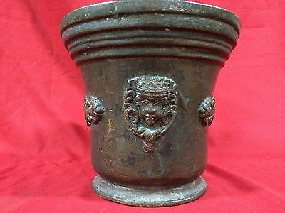 Huge Rare Antique European Bronze Mortar & Pestle Royal Aristrocatic Vase? King 6