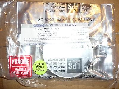 "Tantalum Oxide Ta2O5 white 99.995% pure 1lb 16oz  3.5"" round disc sealed Cerac 2"