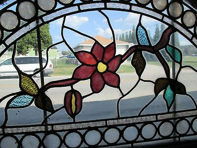 ~ GREAT ANTIQUE AMERICAN STAINED GLASS WINDOWS FLOWERS ~ 44 x 25 ~ SALVAGE 4