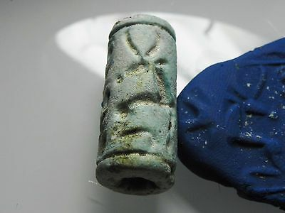 ZURQIEH - cy3- ANCIENT CANAANITE FAIENCE CYLINDER SEAL. 1700 - 1550 B.C 3