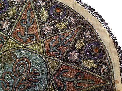 1880's ultra Antique Embroidery Ottoman Tughra Metallic Thread Turkish Tinsel 7
