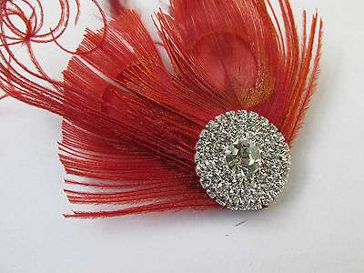Red & Silver Peacock Feather Fascinator Headpiece Hair Clip Vintage Diamante U16 5